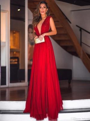 Robe de soirée fourreau longue col en V avec perles | Robe de cérémonie fourreau longue brillante sexy_2