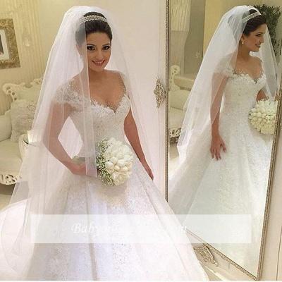 Forme Marquise Traîne moyenne Col en V Robes de mariée robe de bal avec Perle_1
