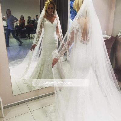 Forme Sirène/Trompette Longueur ras du sol Col en cœur Dentelle Robes de mariée 2020 avec Dentelle_1