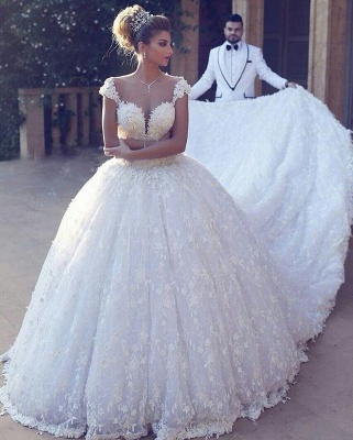 Robe de mariée princesse dentelle luxueuse traîne cathédrale avec appliques | Robe de mariage princesse longue élégante_2
