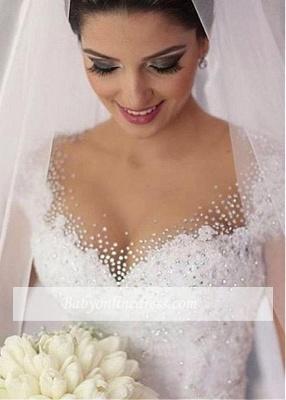 Forme Marquise Traîne moyenne Col en V Robes de mariée robe de bal avec Perle_2