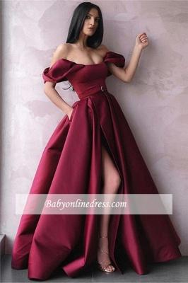 Robe de bal princesse fendue devant   Robe de soirée princesse épaules nues_1