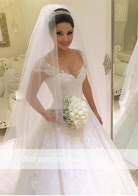 Forme Marquise Traîne moyenne Col en V Robes de mariée robe de bal avec Perle_3
