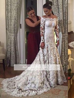 Robe de mariée sirène dentelle élégante | Robe de mariage trompette épaules nues_2
