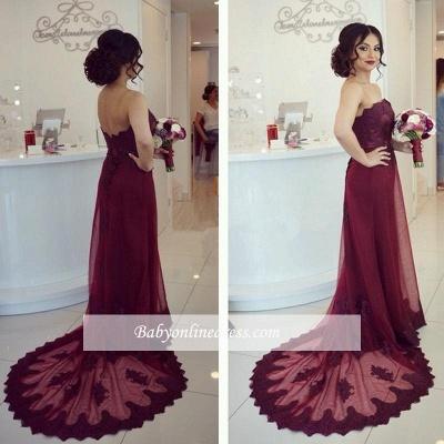 Robe de soirée fourreau dentelle élégante | Robe de cérémonie gaine sans bretelles_1