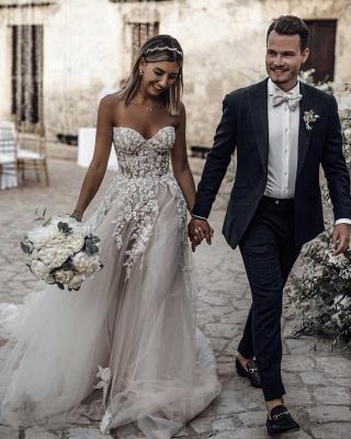 Robe de mariée A-ligne tulle épaules nues avec fleurs | Robe de mariage longue chic_3