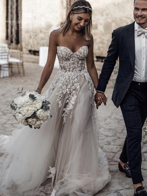 Robe de mariée A-ligne tulle épaules nues avec fleurs | Robe de mariage longue chic_2