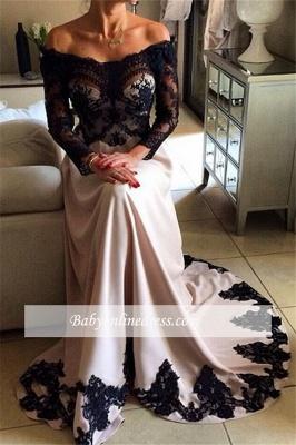 Robe de soirée A-ligne manches longues | Robe de cérémonie A-ligne élégante avec dentelle_1