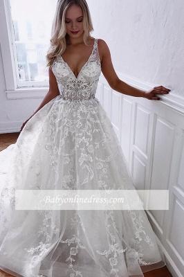 robe de mariée longue princesse en appliques dentelles avec cristaux_2