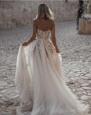Robe de mariée A-ligne tulle épaules nues avec fleurs | Robe de mariage longue chic_4