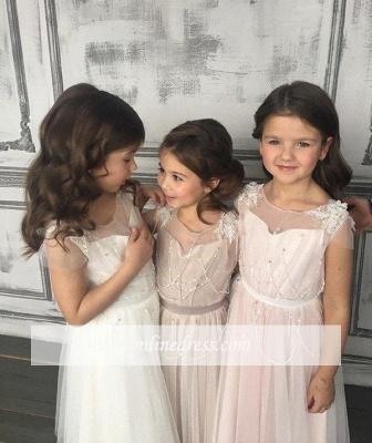 Forme Princesse Longueur mollet Col U profond Tulle 2020 Pageant Robes pour filles avec Appliques