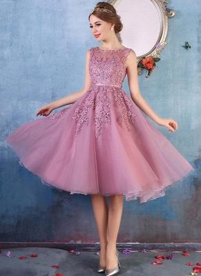 Forme Princesse Longueur Genou Col Rond Sans Manches Robes de soirée 2020 avec Perle Dentelle_10