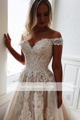 robe de mariée longue princesse épaules nues en appliques dentelles_1