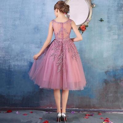 Forme Princesse Longueur Genou Col Rond Sans Manches Robes de soirée 2021 avec Perle Dentelle_9