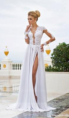 Forme Princesse Longueur ras du sol Col en V Mousseline polyester 2021 Robes de bal avec Dentelle_4