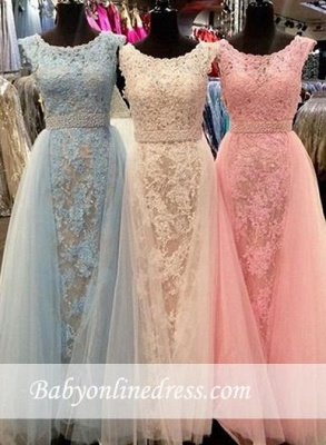 Longueur ras du sol Col U profond Tulle Robes de Demoiselles d'Honneur 2020 avec Cristal_2